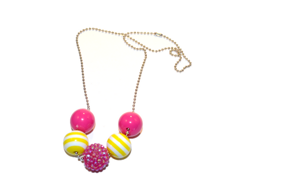 Yellow Striped and Pink Rhinestone Beaded Chain Necklace