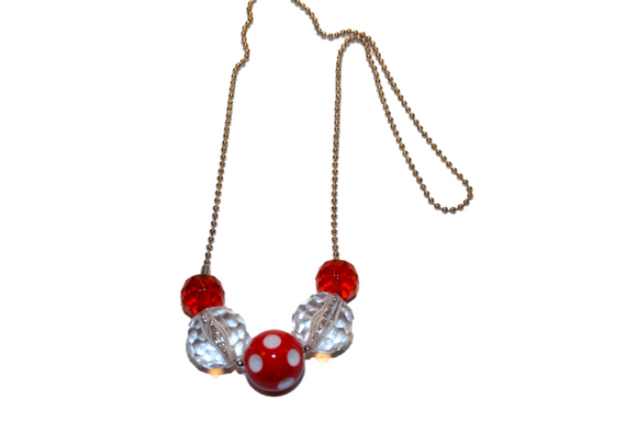 Red Polka Dot Beaded Chain Necklace