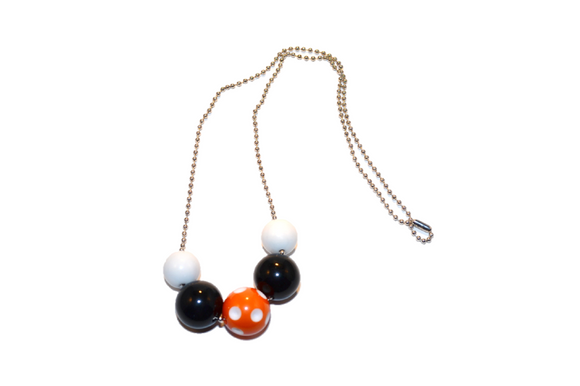 Black and Orange Polka Dot Beaded Chain Necklace