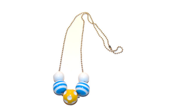Blue Striped and Yellow Polka Dot Beaded Chain Necklace