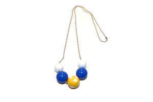 Blue and Yellow Polka Dot Beaded Chain Necklace