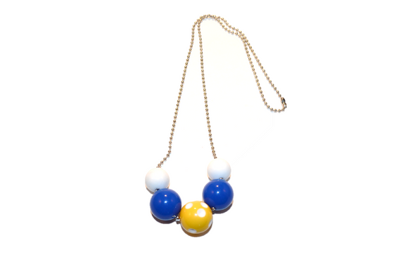 Blue and Yellow Polka Dot Beaded Chain Necklace - Dream Lily Designs
