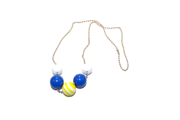 Blue and Yellow Striped Beaded Chain Necklace