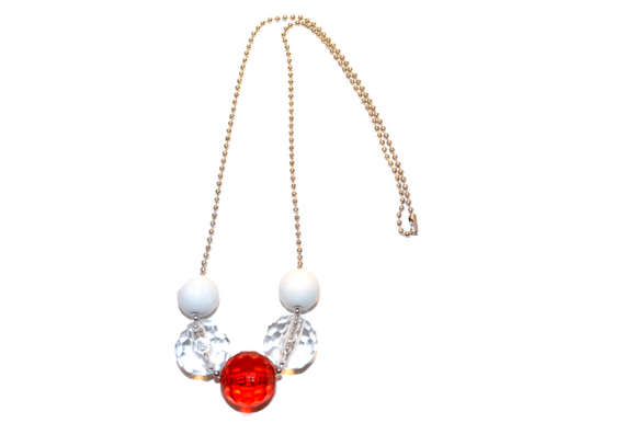 Red Crystal Beaded Chain Necklace - Dream Lily Designs