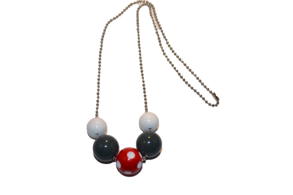 White Grey and Red Polka Dot Beaded Chain Necklace