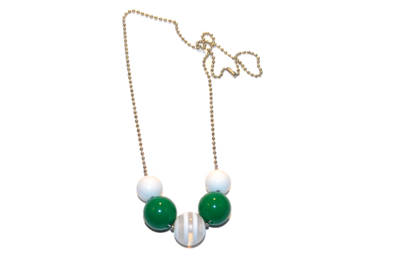 Green and White Striped Beaded Chain Necklace