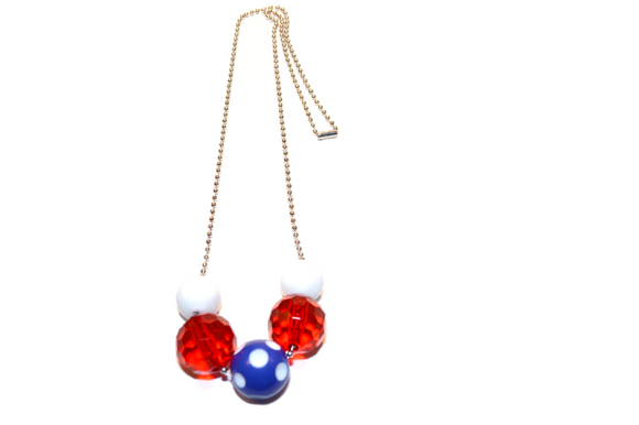 Red White and Blue Polka Dot Beaded Chain Necklace