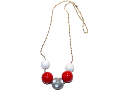 Red White and Grey Polka Dot Beaded Chain Necklace