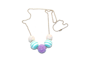 Teal Striped and Purple Rhinestone Beaded Chain Necklace - Dream Lily Designs