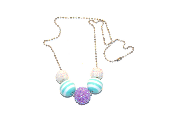 Teal Striped and Purple Rhinestone Beaded Chain Necklace