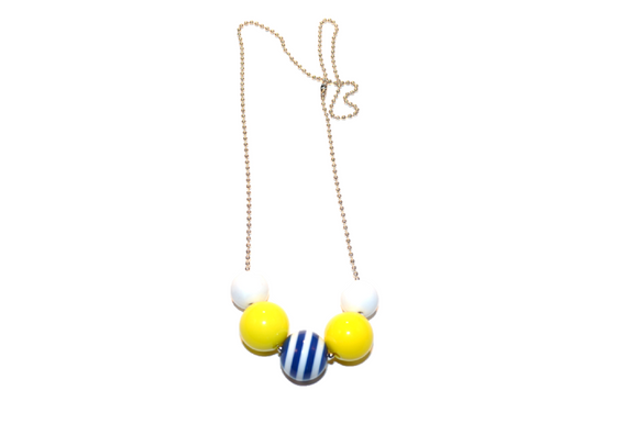 Yellow and Blue Striped Beaded Chain Necklace