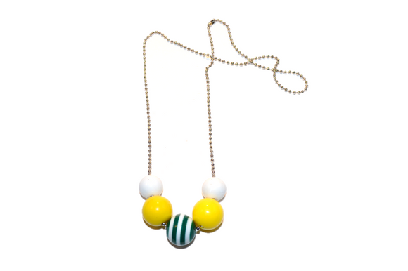 Yellow and Green Striped Beaded Chain Necklace