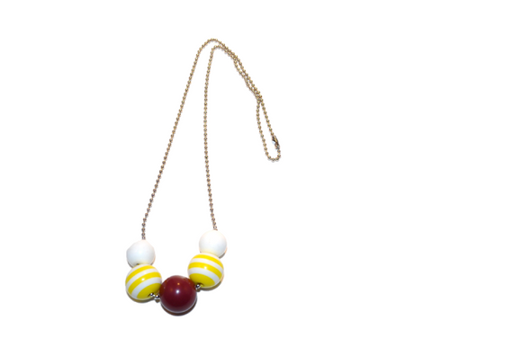 Yellow and Maroon Beaded Chain Necklace