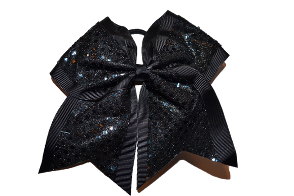 Black Sequin Cheer Bow - Dream Lily Designs