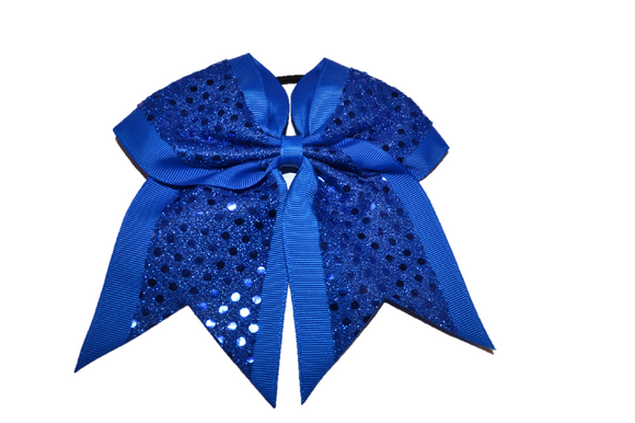 Blue Sequin Cheer Bow