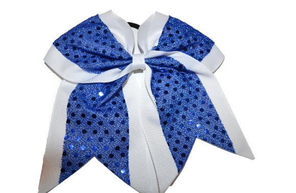 White and Blue Sequin Cheer Bow