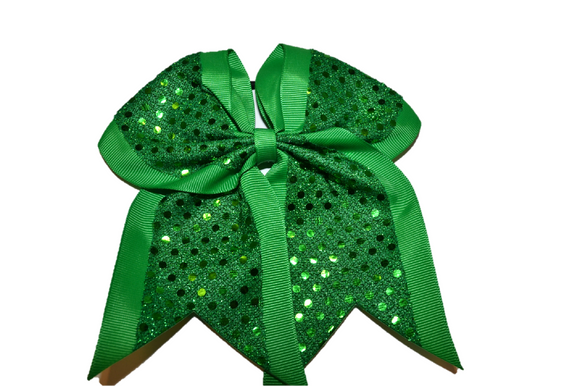 Green Sequin Cheer Bow - Dream Lily Designs