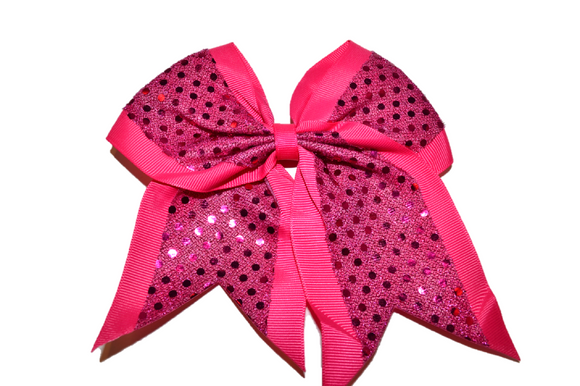 Pink Sequin Cheer Bow