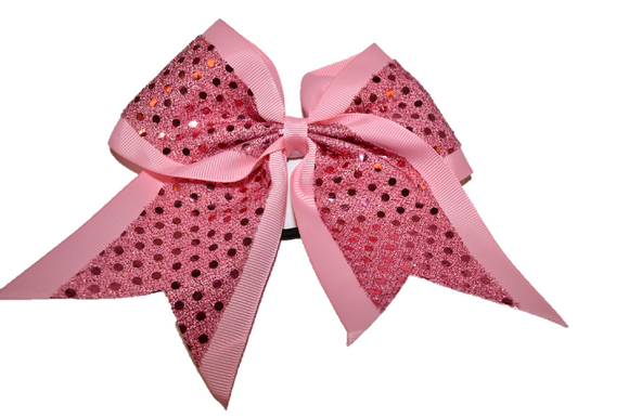 Light Pink Sequin Cheer Bow - Dream Lily Designs