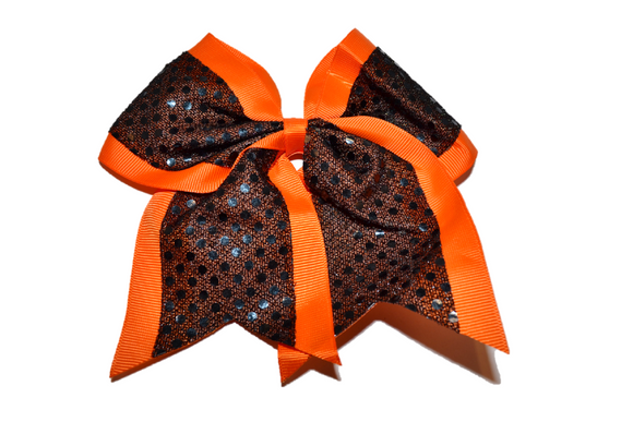 Black and Orange Sequin Cheer Bow