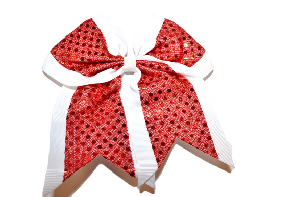 White and Red Sequin Cheer Bow