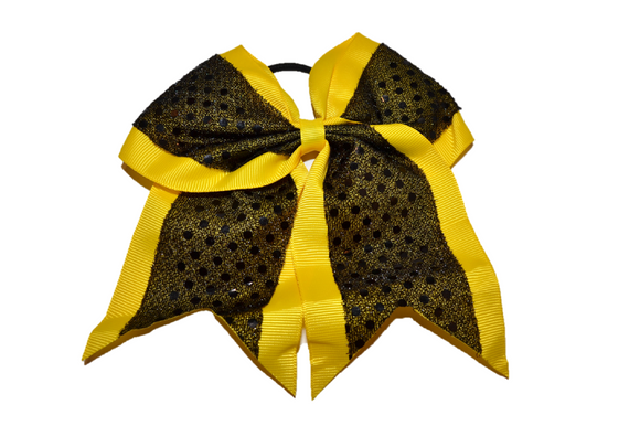 Black and Yellow Sequin Cheer Bow - Dream Lily Designs