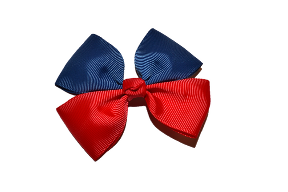 Blue Red Double Ribbon School Spirit Hair Bow - Dream Lily Designs