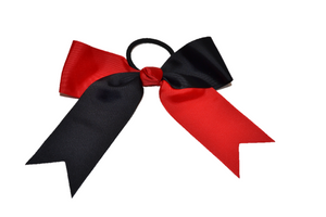 Black and Red Knotted Cheer Bow