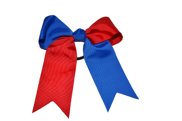Red and Blue Knotted Cheer Bow