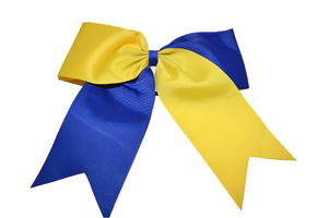 Yellow and Blue Cheer Bow - Dream Lily Designs