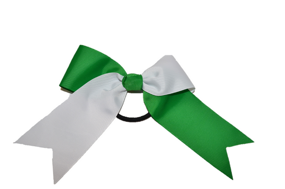 White and Green Knotted Cheer Bow