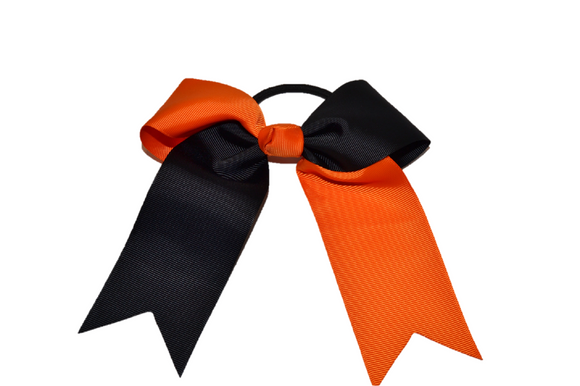 Black and Orange Knotted Cheer Bow