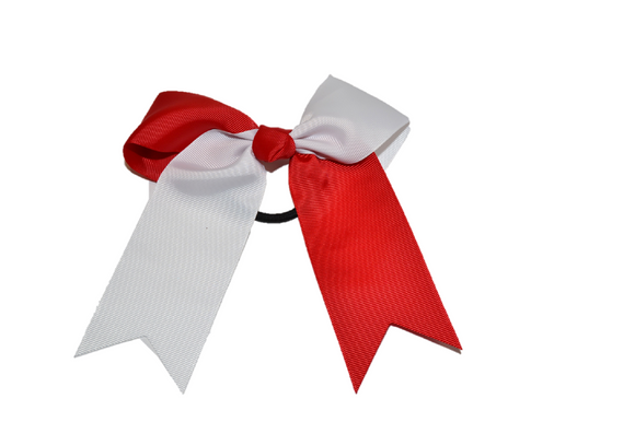 Red and White Knotted Cheer Bow