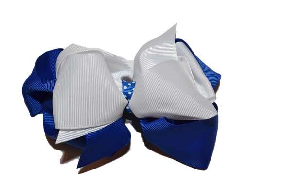 Royal Blue White Boutique School Spirit Hair Bow - Dream Lily Designs