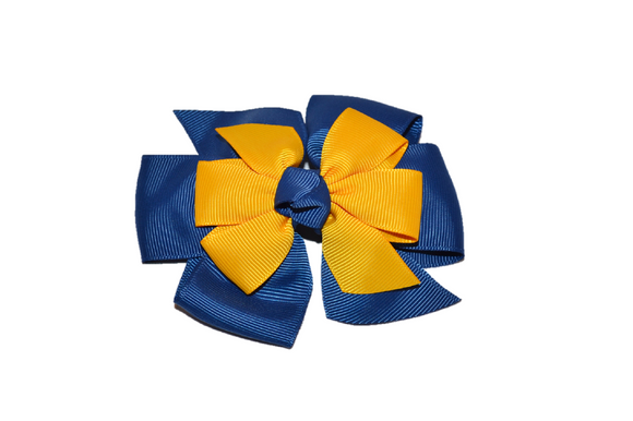 Blue Gold Stacked Boutique Hair Bow