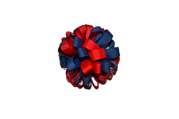 Loop Ribbon Hair Bow - Red and Navy Blue