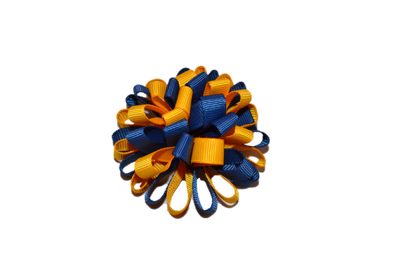 Loop Ribbon Hair Bow - Blue and Gold