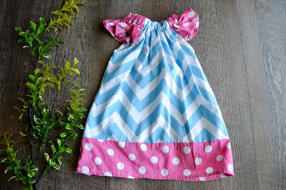 Girls Dress - Pillowcase Style - Blue Chevron with Pink Polka Dot Trim - Dream Lily Designs