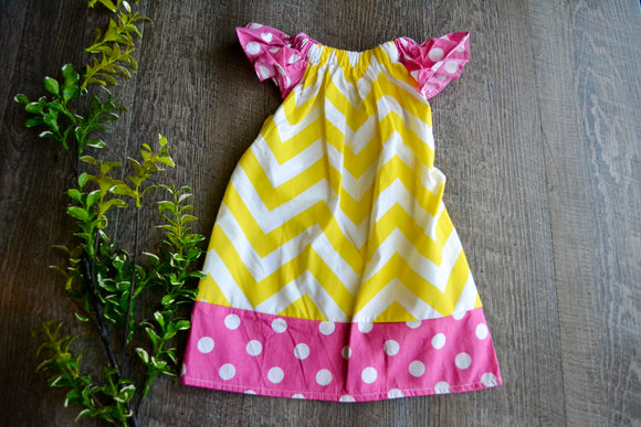 Girls Dress - Pillowcase Style - Yellow Chevron with Pink Polka Dot Trim - Dream Lily Designs