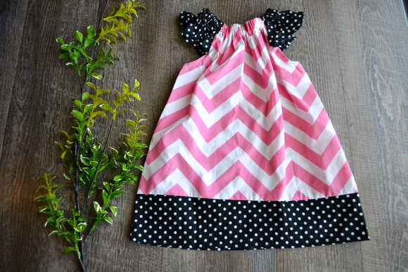 Girls Dress - Pillowcase Style - Pink Chevron with Black and White Polka Dots - Dream Lily Designs