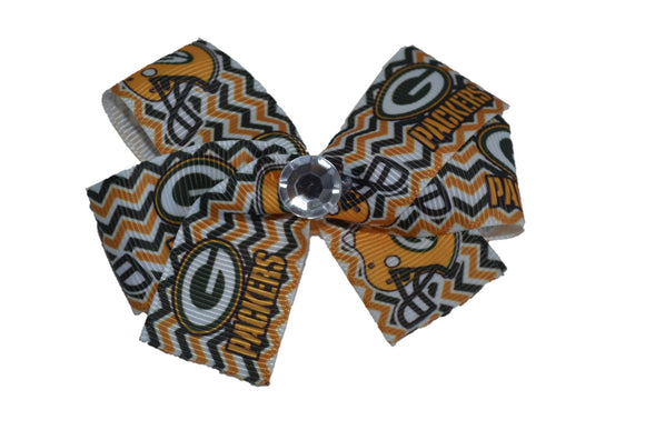 Green Bay Packers Green and Gold Chevron Bow (Sports Teams) - Dream Lily Designs