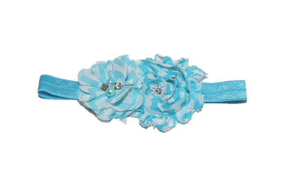 Blue Chevron Shabby Headband