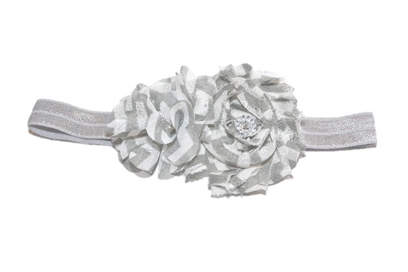 Grey Chevron Shabby Headband