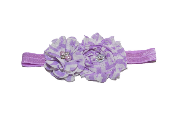 Purple Chevron Shabby Headband