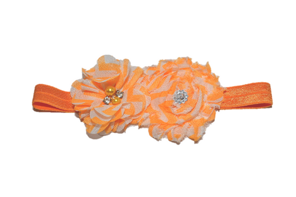 Orange Chevron Shabby Headband