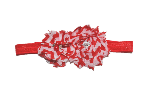 Red Chevron Shabby Headband