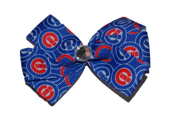 Blue and Red Cubs Bow (Sports Teams) - Dream Lily Designs