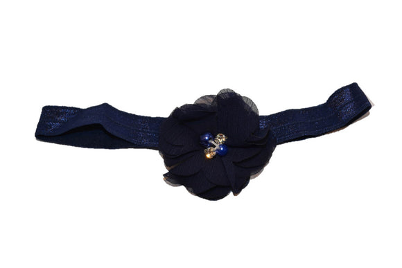 Chiffon Pearl Crystal Flower Headband - Navy Blue
