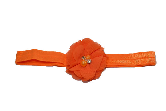 Chiffon Pearl Crystal Flower Headband - Orange