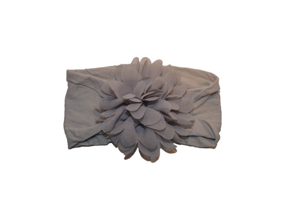Grey Wide Nylon Chiffon Flower Baby Headband - Dream Lily Designs
